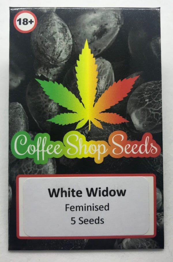 white Widow Feminised cannabis seed packaging