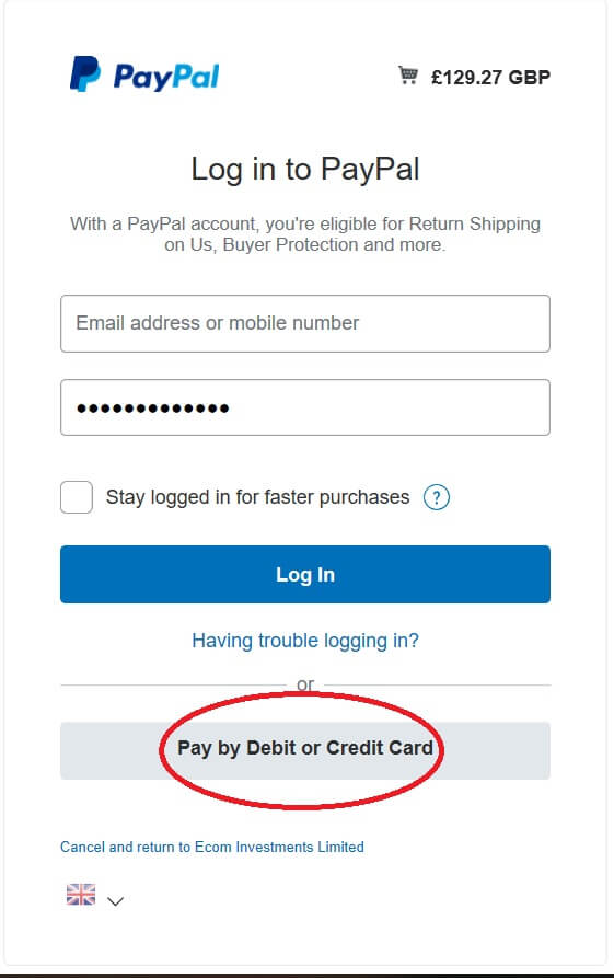 Pay by Dedit or Credit card