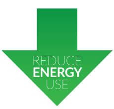 reduce energy use green downward arrow